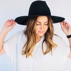Wool Felt Wide Brimmed Fedora Hat